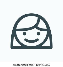 Happy girl face icon, small children head vector icon
