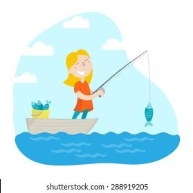 Happy girl fishing. Flat design. Vector illustration.