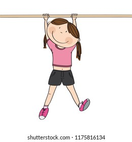 Happy girl hanging on a horizontal bar or a monkey bar in the gym or on the playground - original hand drawn illustration