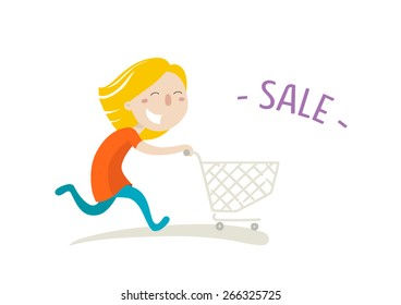 Happy girl hurries shopping on sale. Vector illustration. Flat style.