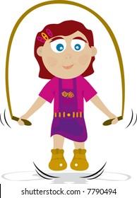Happy girl jumping vector illustration