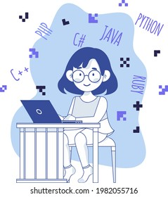 Happy girl with a laptop, online coding course concept flat design illustration, online study, happy girl, idea, coding, e-learning, robotics, stem learning, tinkering kid, coder girl