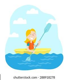 Happy girl maneuvering kayaking. Flat design. Vector illustration.