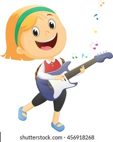 happy girl playing guitar