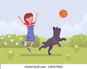 Happy girl playing with pet dog friend outdoors. Kid and playful puppy enjoy fresh air activity, having fun in sport game for ball jump exercise in a green park. Vector flat style cartoon illustration