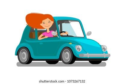 Happy girl rides car. Driving, trip, travel concept. Cartoon vector illustration
