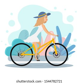 Happy girl riding a bicycle. Vector illustration