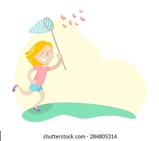 Happy girl is running in a meadow with butterfly net and catching butterflies. Flat design. Vector illustration. Isolated on white background.