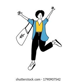 Happy girl with short curly hairstyle in yellow top and blue jacket raise hands up. Doodle illustration of joyful college student with tote bag. Simple line drawing isolated on white background.