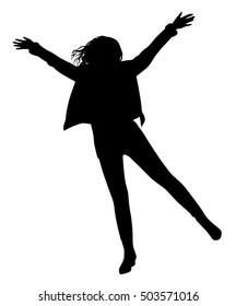 Happy girl silhouette