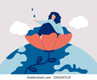 Happy girl sits in the flower and catch water drops. Smiling female cares about yourself. Nature therapy and finding inner peace. Wellbeing and healthy lifestyle concept. Vector illustration