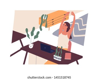 Happy girl sitting at desk with computer and stretching. Smiling woman employee or clerk at workplace in home. End of working day, task completion. Flat cartoon colorful vector illustration.