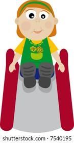Happy girl in slide, playground