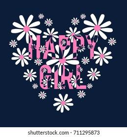 happy girl slogan and pattern daisy vector.