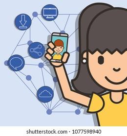 happy girl with smartphone in hand boy talk social media