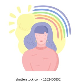 Happy girl smiling. Healthy mental state concept. Woman mental health. Rainbow and sun above the woman head. Vector illustration, cartoon flat style.