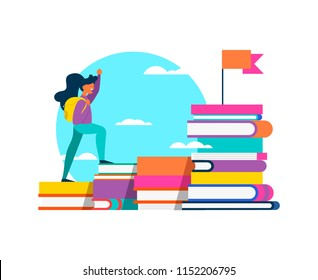 Happy girl student climbing mountain of study books for school learning challenge, success concept. Isolated education design in vibrant flat colors. EPS10 vector.