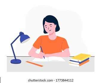 Happy girl studying with books. Student girl at the desk writing for her homework. Back to school. Studying on the table. Study concept. Flat vector illustration.