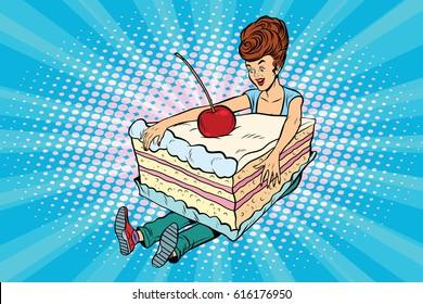 Happy girl and sweet cake. Pop art retro comic book vector illustration