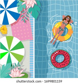 A happy girl is swimming with an orange inflatable lifebuoy, a girl is having fun in the pool or the sea among flowers .Colorful character of a vector illustration