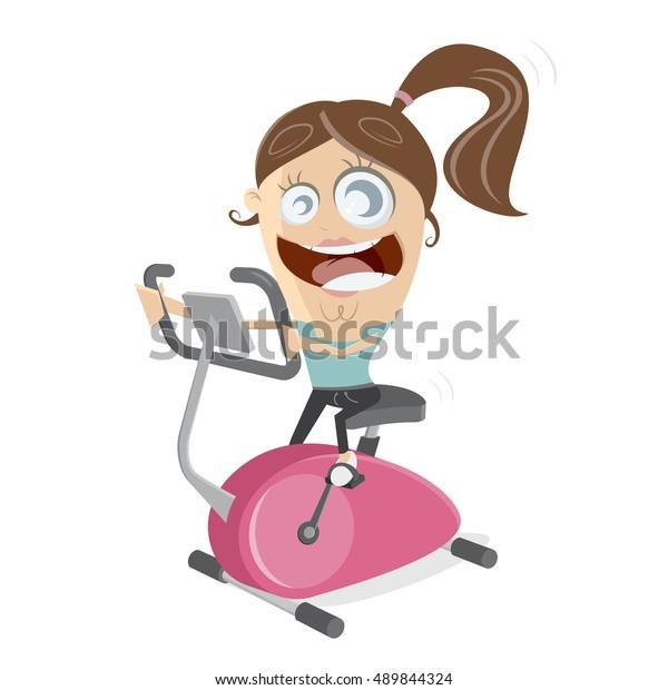happy girl training on indoor bike trainer