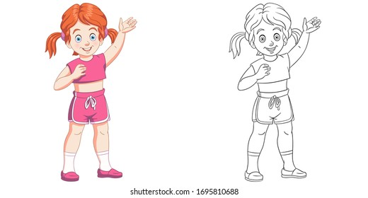 Happy girl waving her hand. Coloring page and colorful clipart character. Cartoon design for t shirt print, icon, logo, label, patch or sticker. Vector illustration.