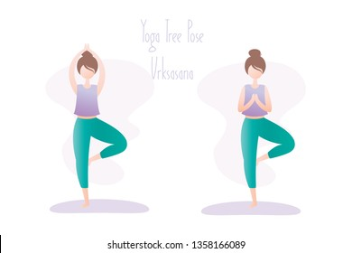 Happy girl in yoga pose,two variation of tree pose or Vrikshasana asana in hatha yoga,simple human character,flat vector illustration