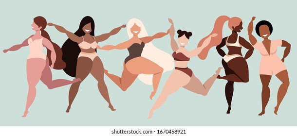 Happy girls. Body positive. Love your body. Different ethnicity and skin colour women characters. Ladies smiling and dancing. Variety of poses and gestures. Trendy vector illustration for web, app.