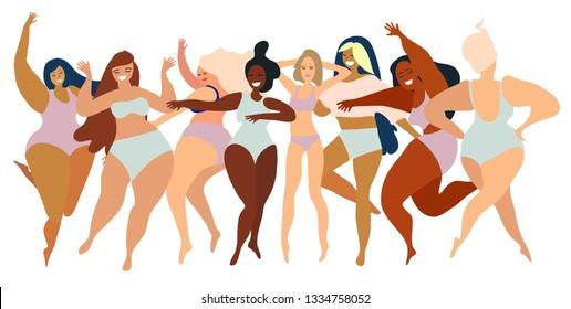 Happy girls. Body positive movement and beauty diversity. Flat illustration. Transparent background