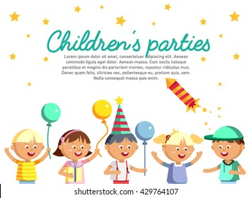 Happy girls and boys with balloon going to party. Children patry card. Birthday party baner. Young male and female cartoon character in white background. Happy childhood. Party kids.