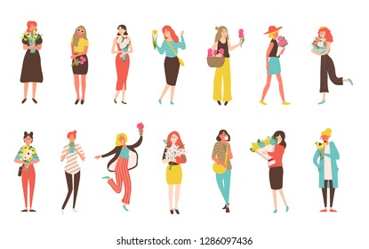 Happy girls with flower bouquets isolated vector icons. Set of womens in dresses or trousers hold tulips and peonies, narcissus and cactus, chamomile and rudbeckia in flat style