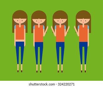 Happy Girls Set Vector