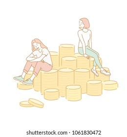 Happy girls sitting on mountain coins. hand drawn style vector doodle design illustrations.