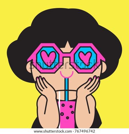 Happy Girls Sun Glasses Heart Eyes Stock Vector Royalty Free