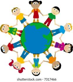 happy globes kids; african, asian, european...