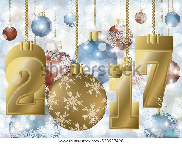 Happy golden 2017 new year greeting card, vector illustration