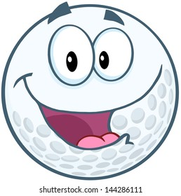 Happy Golf Ball Cartoon Mascot Character. Vector Illustration