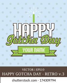 Happy Gotcha Day Adoption boy retro card template vector | EPS10