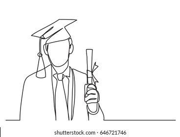 happy graduate with diploma - continuous line drawing