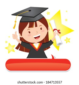 Happy graduate girl. Vector illustration of a star graduate girl with thumb up.