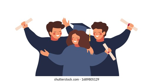 Happy graduated students wearing academic gown hold diplomas in their hands. Boys and girls celebrating university graduation. Flat cartoon vector illustration.
