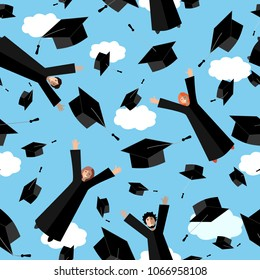 Happy Graduates flying in the air with graduation hats. Jumping Students and Graduation Caps in the sky. Vector seamless pattern.