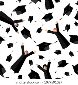 Happy Graduates flying in the air with graduation hats. Jumping Students and Graduation Caps in the sky. Vector seamless pattern. White background