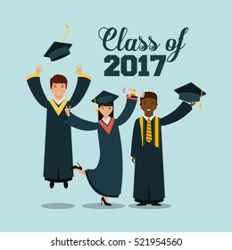happy graduates jumping over blue background. class of 2017 concept. vector illustration