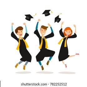 Happy graduates or students throw hats. Education, college, school, graduation concept. Cartoon vector illustration