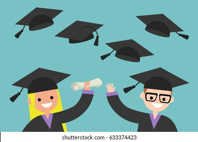 Happy graduates throwing their graduation hats in the air, flat editable vector illustration, clip art