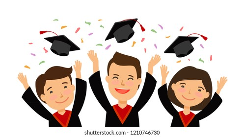 Happy graduating students throwing graduation caps. education, school, college concept. cartoon vector illustration
