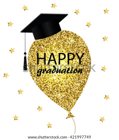 happy graduation card with gold balloon and graduation hat vector illustration