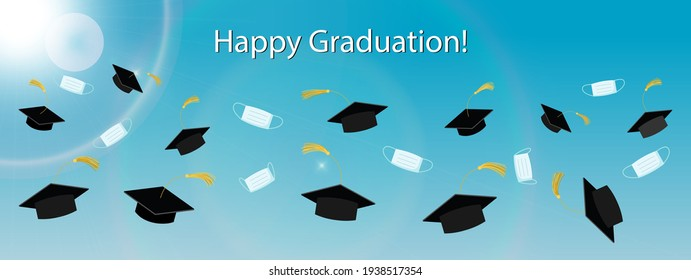 Happy graduation Class banner with flying graduation hats and medical masks, vector. Covid 19 pandemic and social distancing year