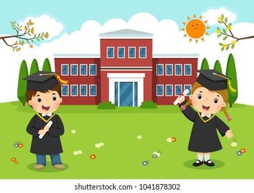 Happy graduation day. School kids graduation in front of school building